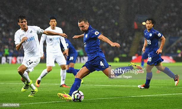 Daniel Drinkwater of Leicester City shoots during the Premier League match between Leicester City and Swansea City at The King Power Stadium on...
