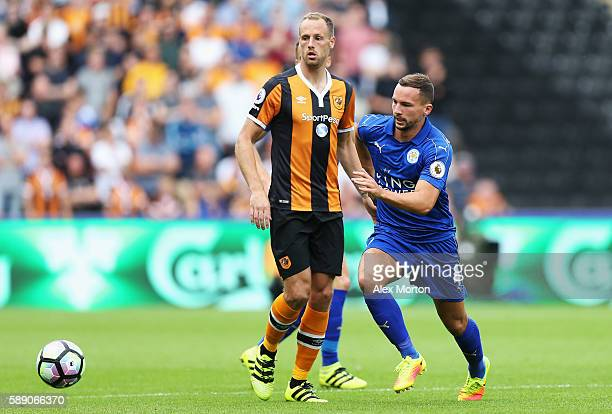 Daniel Drinkwater of Leicester City takes the ball past David Meyler of Hull City during the Premier League match between Hull City and Leicester...
