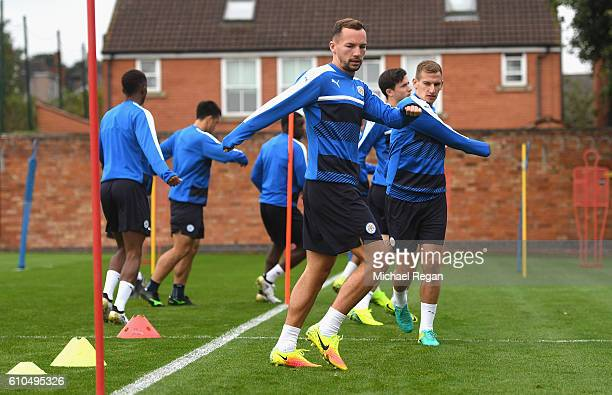 Daniel Drinkwater of Leicester City warms up during a Leicester City training session ahead of their Champions League match against FC Porto at...