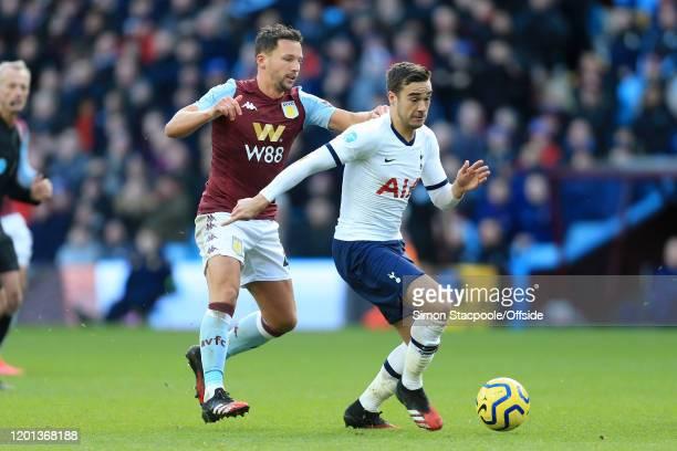 Daniel Drinkwater of Villa battles with Harry Winks of Spurs during the Premier League match between Aston Villa and Tottenham Hotspur at Villa Park...