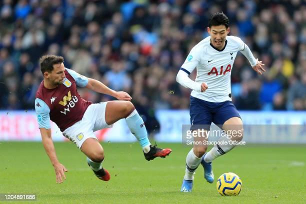 Daniel Drinkwater of Villa tackles Son HeungMin of Spurs during the Premier League match between Aston Villa and Tottenham Hotspur at Villa Park on...