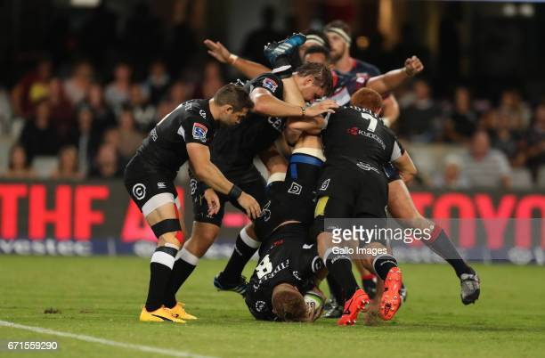 Daniel Du Preez of the Cell C Sharks during the Super Rugby match between Cell C Sharks and Rebels at Growthpoint Kings Park on April 22 2017 in...