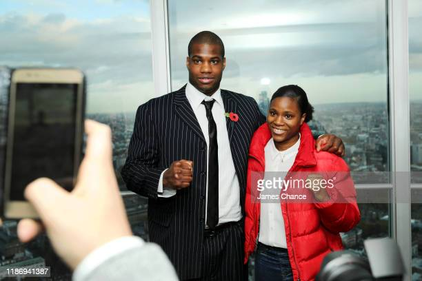 Daniel Dubois and his sister Caroline Dubois pose for a portrait following the Frank Warren Boxing Press Conference announcing The Fight Before...