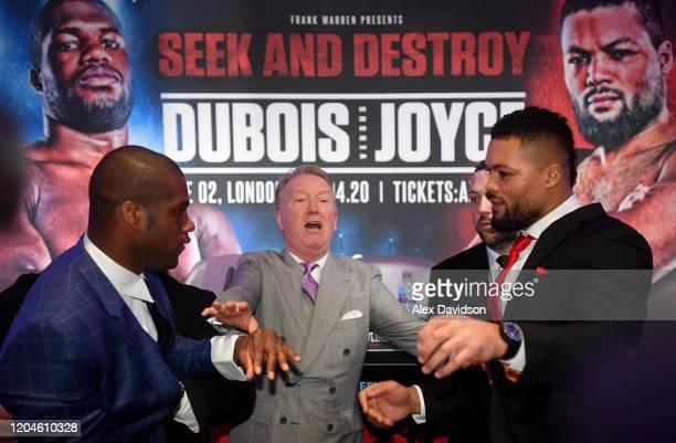 Daniel Dubois and Joe Joyce clash as Frank Warren attempts to break them up during the Daniel Dubois v Joe Joyce Press Conference at the BT Tower on...