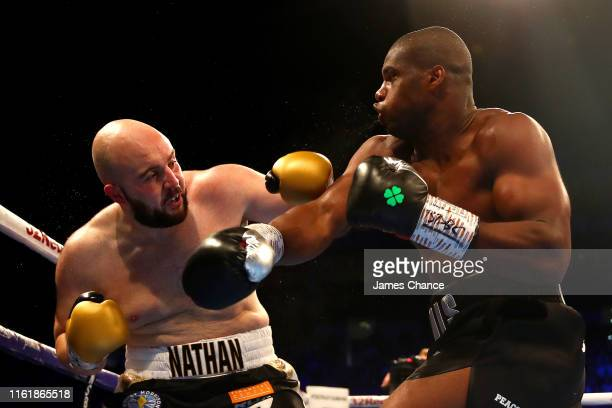 Daniel Dubois and Nathan Gorman exchange punches during the British Heavyweight Title fight between Daniel Dubois and Nathan Gorman at The O2 Arena...