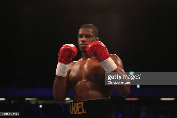 Daniel Dubois celebrates his victory over Dorian darch in the Heavyweight contest at Copper Box Arena on December 9 2017 in London England