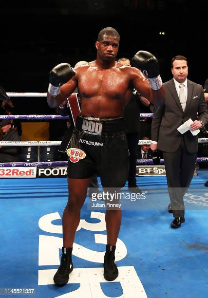 Daniel Dubois celebrates is victory over Richard Lartey in the vacant WBO Global Heavyweight Championship at SSE Arena Wembley on April 27 2019 in...