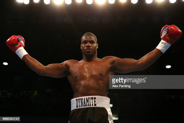 Daniel Dubois celebrates victory after his fight against Dave Howe during the International Heavy Weight contest at Copper Box Arena on May 20 2017...