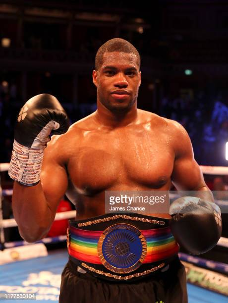 Daniel Dubois celebrates victory over Ebenezer Tetteh after the Commonwealth and WBO International Heavyweight Championship Title fight between...