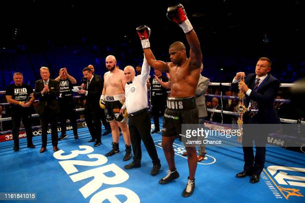 Daniel Dubois celebrates victory over Nathan Gorman after the British Heavyweight Title fight between Daniel Dubois and Nathan Gorman at The O2 Arena...