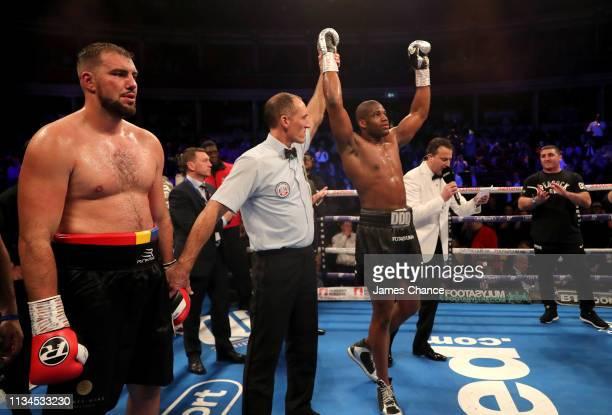 Daniel Dubois celebrates victory over Razan Cojanu after the WBO European Heavyweight title fight between Daniel Dubois and Razan Cojanu at Royal...