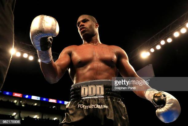 Daniel Dubois celebrates victory over Tom Little during their English Heavyweight Championship contest fight at The O2 Arena on June 23 2018 in...