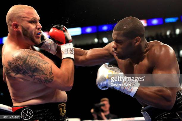 Martin Murray in action against Roberto Garcia during their WBC Silver Middleweight Championship contest fight at The O2 Arena on June 23 2018 in...