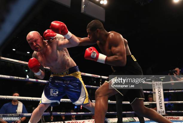 Daniel Dubois in action as he beats Dorian Darch in the Heavyweight contest at Copper Box Arena on December 9 2017 in London England