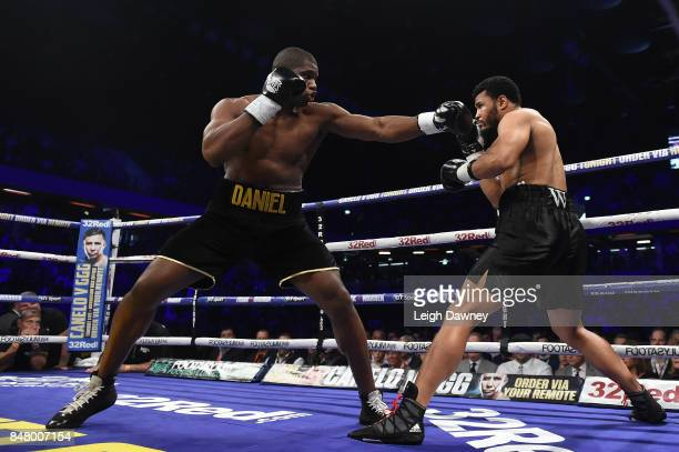 Daniel Dubois in boxing action with AJ Carter during the vacant BBBofC Southern Area Heavyweight Title fight at Copper Box Arena on September 16 2017...