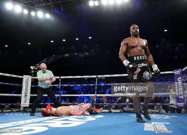 Daniel Dubois knocks out Kyotaro Fujimoto during the WBC Silver and WBO International Heavyweight Title fight between Daniel Dubois and Kyotaro...