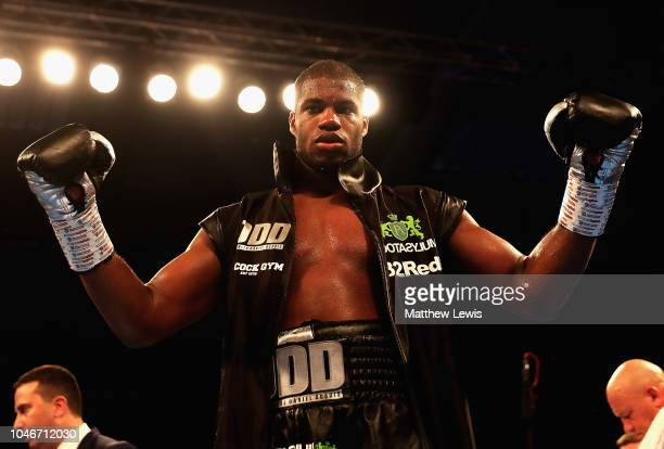 Daniel Dubois of England celebrates his win against Kevin Johnson of the United States of America during the International Heavyweight Contest at...