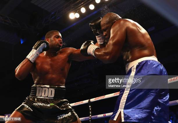 Daniel Dubois of England in action against Kevin Johnson of the United States of America during the International Heavyweight Contest at Morningside...