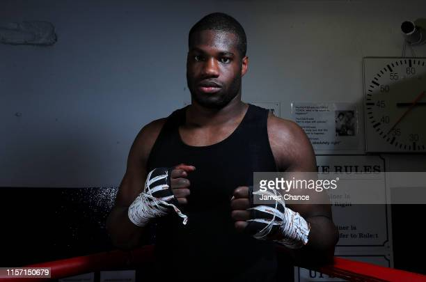 Daniel Dubois poses for a photo after the Media work out at Peacock Gym on June 20 2019 in London England