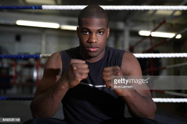 Daniel Dubois poses for a photo during a media work out at the Peacock Gym on September 13 2017 in London England