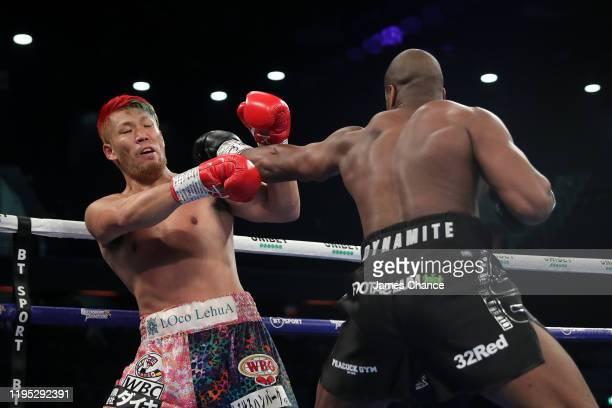 Daniel Dubois punches Kyotaro Fujimoto during the WBC Silver and WBO International Heavyweight Title fight between Daniel Dubois and Kyotaro Fujimoto...