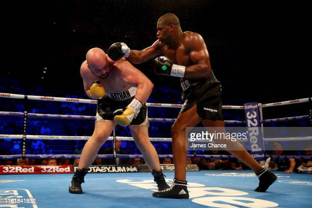 Daniel Dubois punches Nathan Gorman during the British Heavyweight Title fight between Daniel Dubois and Nathan Gorman at The O2 Arena on July 13,...