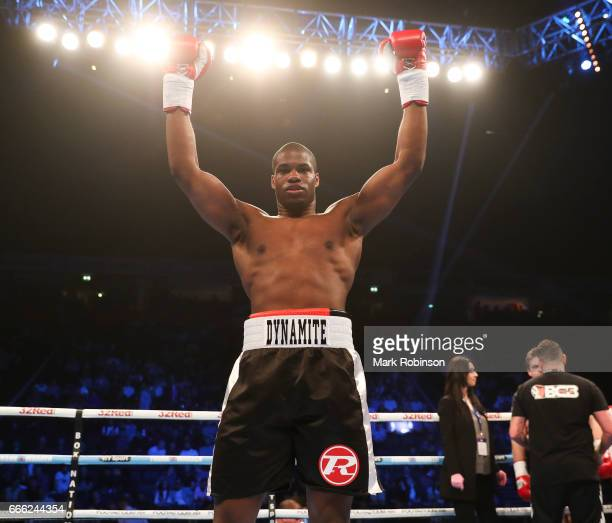 Daniel Dubois puts Marcus Kelly down in the 1st round to win their Heavyweight bout at Manchester Arena on April 8 2017 in Manchester England