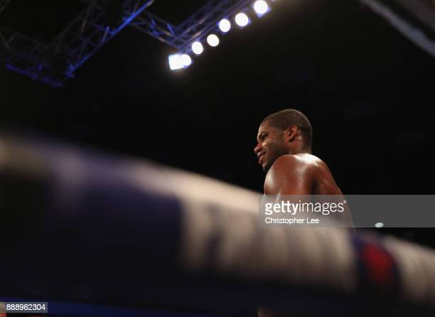 Daniel Dubois smiles after he beats Dorian Darch in the Heavyweight contest at Copper Box Arena on December 9 2017 in London England