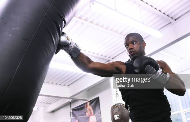Daniel Dubois warms up during a Media Workout at Kings Gym on October 3 2018 in Leicester England