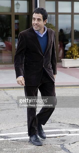 Daniel Ecija attends the funeral chapel for actor Fernando Guillen at Tres Cantos chapel on January 18 2013 in Madrid Spain