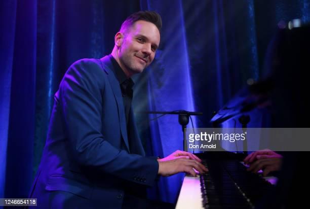 Daniel Edmonds performs post show on June 05, 2020 in Sydney, Australia. The Reservoir Room is live-stream performances of theatre, live music,...