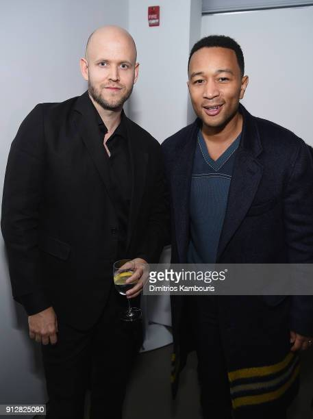 Daniel Ek and John Legend attends 'The Minefield Girl' Audio Visual Book Launch at Lightbox on January 31 2018 in New York City