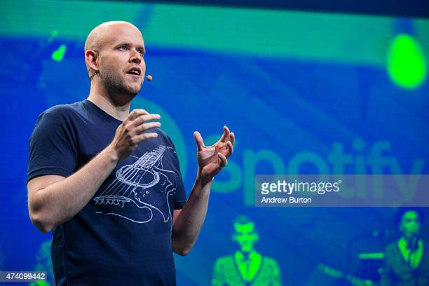 Daniel Ek CEO and Founder of Spotify speaks at a media event announcing updates to the music streaming application Spotify on May 20 2015 in New York...