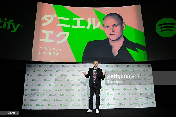 Daniel Ek chief executive officer and cofounder of Spotify AB gestures as he speaks during a news conference in Tokyo Japan on Thursday Sept 29 2016...
