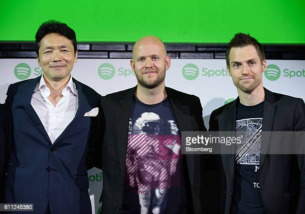 Daniel Ek chief executive officer and cofounder of Spotify AB center Hannes Graah former president of Spotify Japan KK right and Ochre Tamaki...