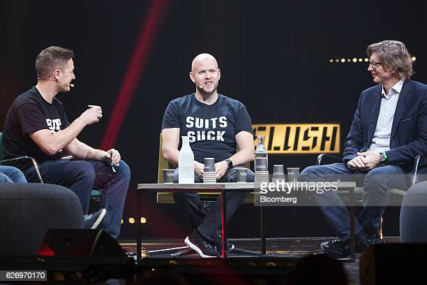 Daniel Ek chief executive officer and cofounder of Spotify AB center speaks during a panel session at the Slush startups event in Helsinki Finland on...