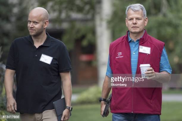 Daniel Ek chief executive officer and cofounder of Spotify Ltd left and Mike Pausic founder of Foxhaven Asset Management LP arrive for a morning...