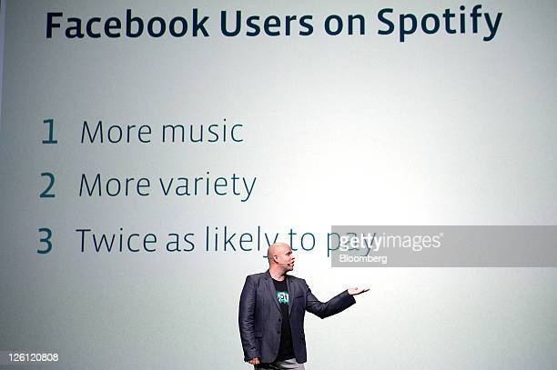 Daniel Ek chief executive officer and cofounder of Spotify Ltd speaks at Facebook's F8 developers conference in San Francisco California US on...