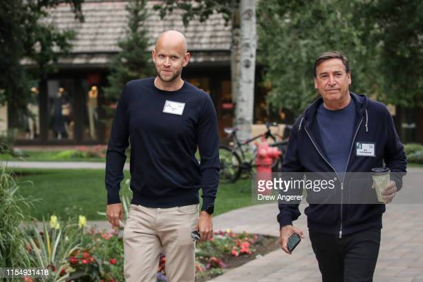Daniel Ek, chief executive officer of Spotify, and Bill Koenigsberg, president and chief executive officer at Horizon Media, attend the annual Allen...