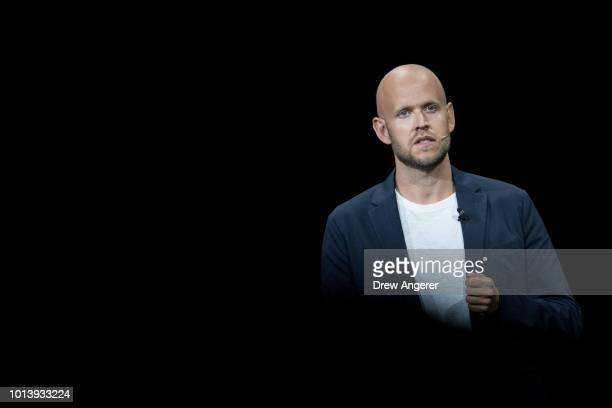 Daniel Ek chief executive officer of Spotify speaks about a partnership between Samsung and Spotify during a product launch event at the Barclays...