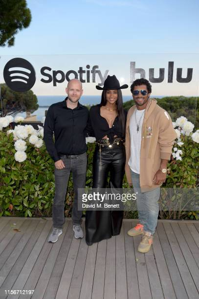 Daniel Ek, Ciara and Russell Wilson attend an intimate evening of music and culture hosted by Spotify and Hulu during Cannes Lions 2019 at Villa...