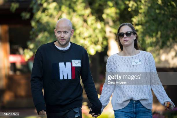 Daniel Ek cofounder and chief executive officer of Spotify and wife Sofia Ek arrive for a morning session of the annual Allen Company Sun Valley...