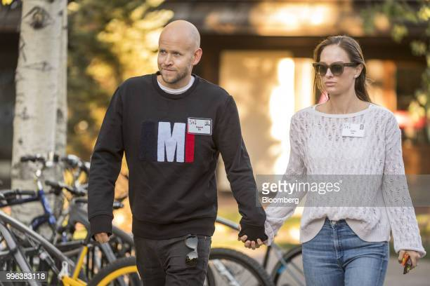 Daniel Ek cofounder and chief executive officer of Spotify Technology SA and Sofia Ek arrive for a morning session of the Allen Co Media and...