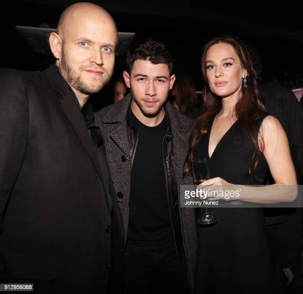 Daniel Ek Nick Jonas and Sofia Ek attend 'The Minefield Girl' Audio Visual Book Launch at Lightbox on January 31 2018 in New York City