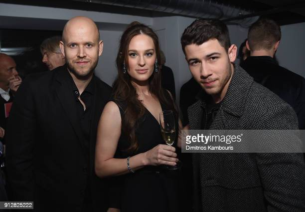 Daniel Ek Sofia Ek and Nick Jonas attend 'The Minefield Girl' Audio Visual Book Launch at Lightbox on January 31 2018 in New York City