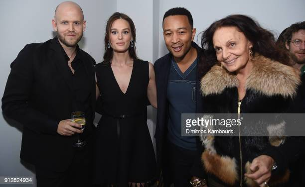 Daniel Ek Sofia Ek John Legend and Diane von Furstenberg attend 'The Minefield Girl' Audio Visual Book Launch at Lightbox on January 31 2018 in New...