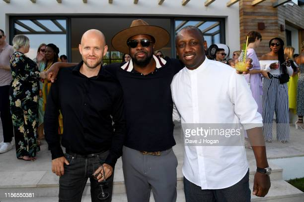Daniel Ek, Wyclef Jean, Chaka Zulu attend an intimate evening of music and culture hosted by Spotify and Hulu during Cannes Lions 2019 at Villa...