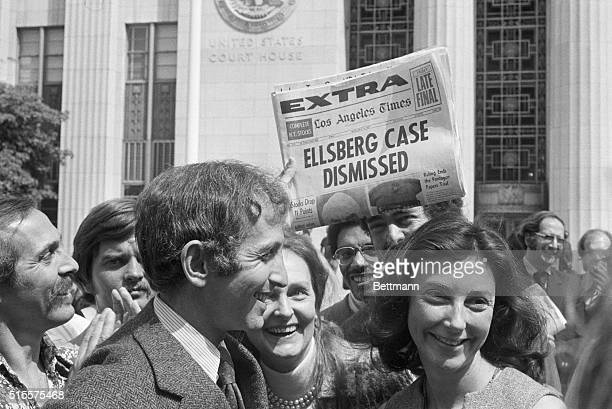 Daniel Ellsberg and wife walk from court after a federal judge has just dismissed the Pentagon Papers case against Ellsberg
