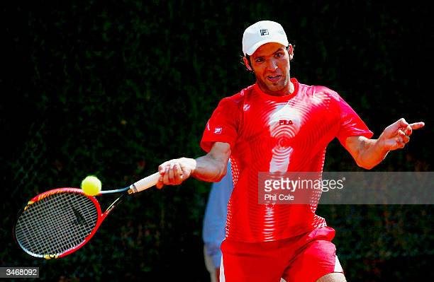 Daniel Elsner of Germany in action against Ruban Ramirez Hidalgo of Spain in the first round of the Barcelona Seat Godo Open Tennis Tournement at the...
