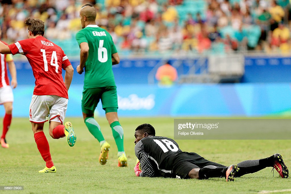 Daniel Emmanuel #18 of Nigeria in action during the Men's Football Quarterfinal match at Arena Fonte Nova Stadium on Day 8 of the Rio 2016 Olympic Games on August 13, 2016 in Salvador, Brazil.
